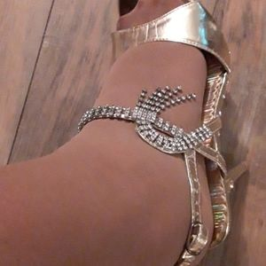 Delicacy Rhinestone and Gold Heels